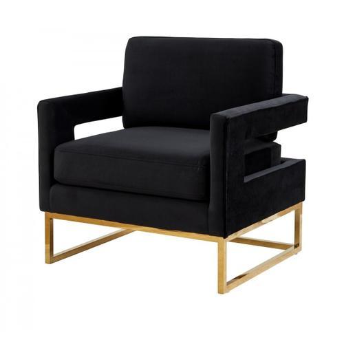 VIG Furniture - Modrest Edna - Modern Black Velvet & Gold Accent Chair