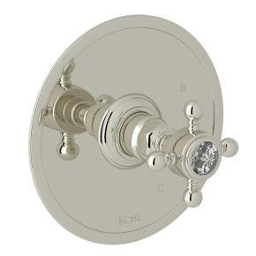 Polished Nickel Italian Bath Pressure Balance Trim Without Diverter with Crystal Cross Handle