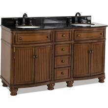 "60-1/2"" double Walnut vanity with Antique Brushed Satin Brass hardware, bead board doors, curved front, and preassembled Black Granite top and 2 oval bowls"
