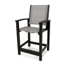 View Product - Coastal Counter Chair in Black / Metallic Sling