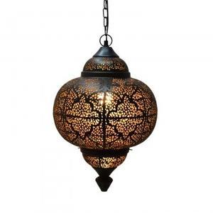 Palace Matki Tikoni Pendant lamp/Iron+textile cable/Black, gold inside/16.5x16.5