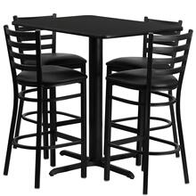 24''W x 42''L Rectangular Black Laminate Table Set with 4 Ladder Back Metal Barstools - Black Vinyl Seat