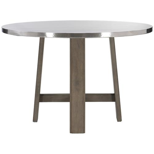 Gallery - Harding Dining Table in Portobello Finishes Available Cocoa (CN1) Portobello (PN1) Smoke (SN1) Description Round table top wrapped in stainless steel Non-wire-brushed wood base with four legs and stretchers Adjustable glides Options Note: Optional glass top available, but recommeneded to prevent scratching of metal top. Order with 305-265G. To order in the available non-wire brushed finishes, specify the 3-digit finish number. Also available in wire brushed finishes - Glacier White, Midnight Black and Weathered Greige. See 305-265 & 305-266W . Specifications subject to change without notice. Due to differences in screen resolutions, the fabrics and finishes displayed may vary from the actual fabric and finish colors. ALL RELATED PRODUCTS