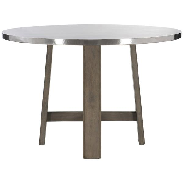 See Details - Harding Dining Table in Portobello Finishes Available Cocoa (CN1) Portobello (PN1) Smoke (SN1) Description Round table top wrapped in stainless steel Non-wire-brushed wood base with four legs and stretchers Adjustable glides Options Note: Optional glass top available, but recommeneded to prevent scratching of metal top. Order with 305-265G. To order in the available non-wire brushed finishes, specify the 3-digit finish number. Also available in wire brushed finishes - Glacier White, Midnight Black and Weathered Greige. See 305-265 & 305-266W . Specifications subject to change without notice. Due to differences in screen resolutions, the fabrics and finishes displayed may vary from the actual fabric and finish colors. ALL RELATED PRODUCTS