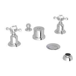 Polished Chrome Perrin & Rowe Edwardian Five-Hole Bidet Faucet With Lever Or Cross Handles with Edwardian Cross Handle Product Image