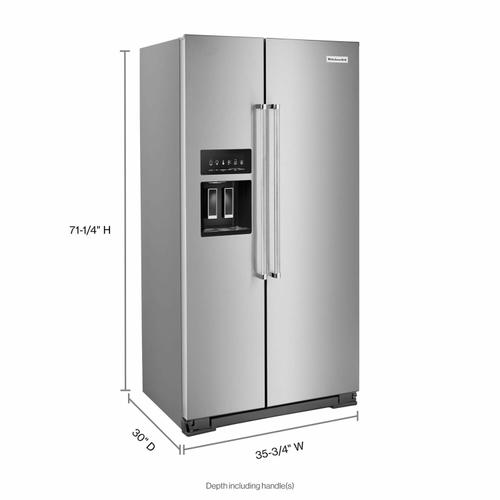 KitchenAid - 22.6 cu ft. Counter-Depth Side-by-Side Refrigerator with Exterior Ice and Water and PrintShield™ finish - Stainless Steel with PrintShield™ Finish