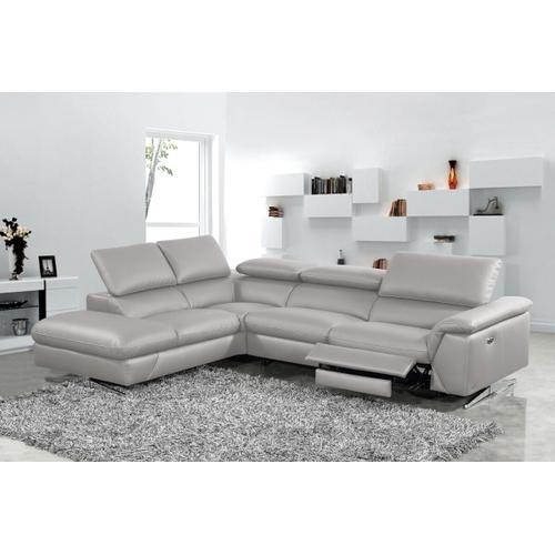 VIG Furniture - Divani Casa Maine - Modern Medium Grey Eco-Leather Left Facing Sectional Sofa with Recliner