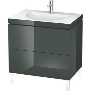 Furniture Washbasin C-bonded With Vanity Floorstanding, Dolomiti Gray High Gloss (lacquer)