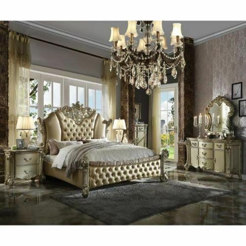 ACME Vendome II Queen Bed - 28030Q - PU & Gold Patina