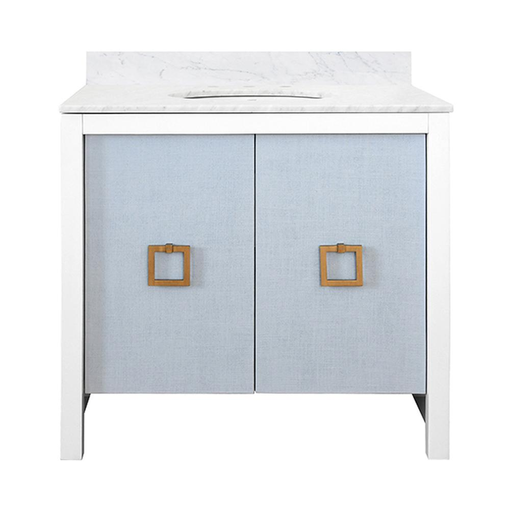 See Details - The April Bath Vanity Exudes Feminine Grace With Elegant, Textured Light Blue Linen Doors and Matte White Lacquer Case. Grand Scale, Square Antique Brass Hardware Adorns Each Cabinet Door. April Is Crowned With A Luxurious White Carrara Marble Surface, Backsplash, and White Porcelain Sink. Superb!