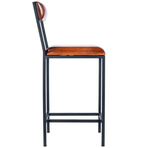 Add style to your space with this counter-height industrial inspired stool with padded seat and backrest! Crafted from leather and iron, this bar stool was designed with a built-in footrest and structural stretchers for added stability and comfort.