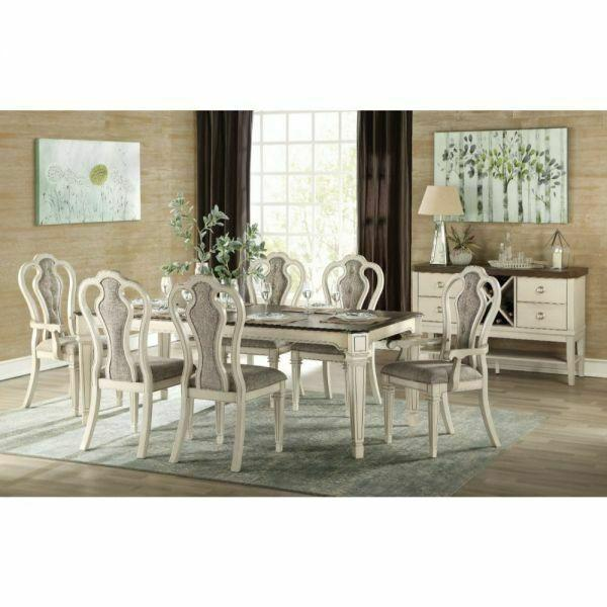 ACME Kayley Dining Table - 77135 - Antique White & Dark Oak
