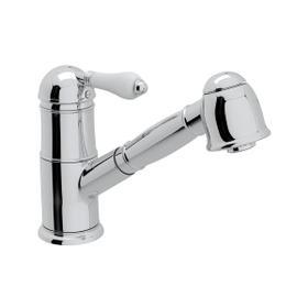 Patrizia Pullout Kitchen Faucet - Polished Chrome with White Porcelain Lever Handle