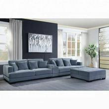 ACME Qiana Sectional Sofa w/Pillows - 55235 - Contemporary - Fabric, Frame: Wood (Ply), Foam (D) - Dusty Blue Fabric