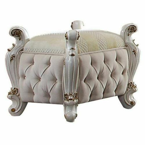 ACME Picardy Vanity Stool - 27885 - Fabric & Antique Pearl
