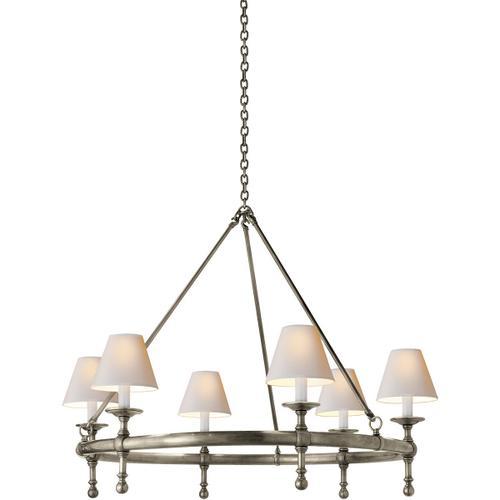 E. F. Chapman Classic 6 Light 33 inch Antique Nickel Chandelier Ceiling Light