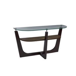 Round Glass Top Console Table - Espresso Finish