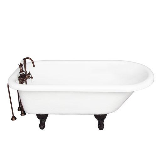 "Andover 60"" Acrylic Roll Top Tub Kit in White - Oil Rubbed Bronze Accessories"