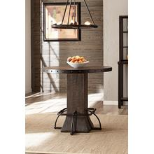 See Details - Jennings Round Counter Height Table - Distressed Walnut Wood / Brown Metal