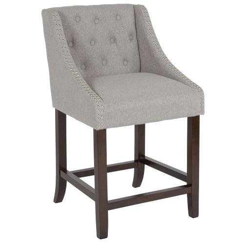 "24"" High Transitional Tufted Walnut Counter Height Stool with Accent Nail Trim in Light Gray Fabric"