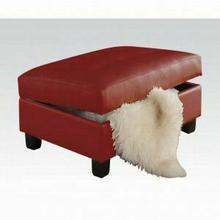 ACME Kiva Ottoman w/Storage - 51187 - Red Bonded Leather Match