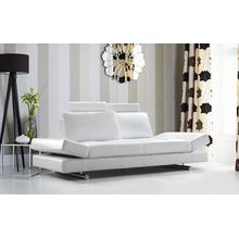 See Details - Divani Casa Hymn - Modern White Leather Sofa with Adjustable Backrest