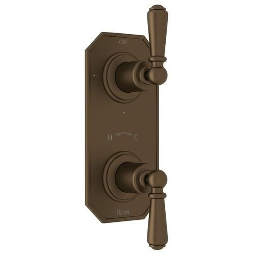 """English Bronze Perrin & Rowe Edwardian 1/2"""" Thermostatic/Diverter Control Trim with Edwardian Metal Lever"""