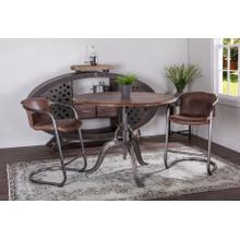 """See Details - Industrial Loft 48"""" Adjustable Round Dining Table Weathered Gray"""