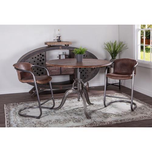 """Industrial Loft 48"""" Adjustable Round Dining Table Weathered Gray"""