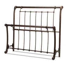 See Details - Legion Metal Sleigh-Styled Headboard and Footboard Bed Panels with Twisted Rope Top Rails, Ancient Gold Finish, Queen