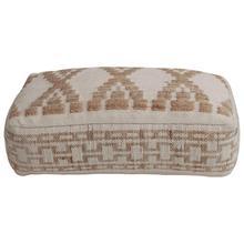 "Product Image - 42""W x 24""D x 10""H Hand-Woven Cotton & Wool Blend Kilim Pouf, Natural & White"