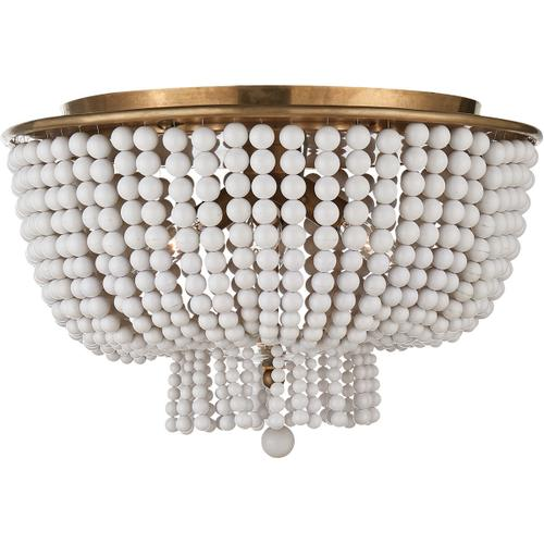 Visual Comfort - AERIN Jacqueline 4 Light 18 inch Hand-Rubbed Antique Brass Flush Mount Ceiling Light in White Acrylic