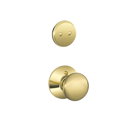 Plymouth In-active Handleset and Plymouth Knob - Bright Brass
