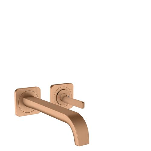 Brushed Bronze Single lever basin mixer for concealed installation wall-mounted with pin handle, spout 221 mm and escutcheons