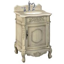 View Product - 25 in. W Petite Single Vanity with Cream Marble Top in Antique Parchment