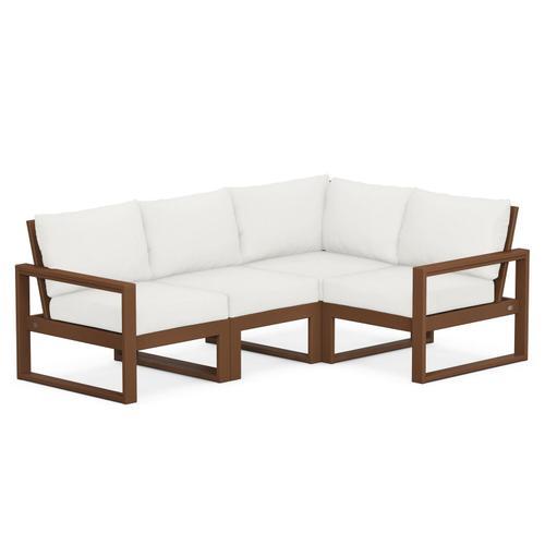 Polywood Furnishings - EDGE 4-Piece Modular Deep Seating Set in Teak / Natural Linen