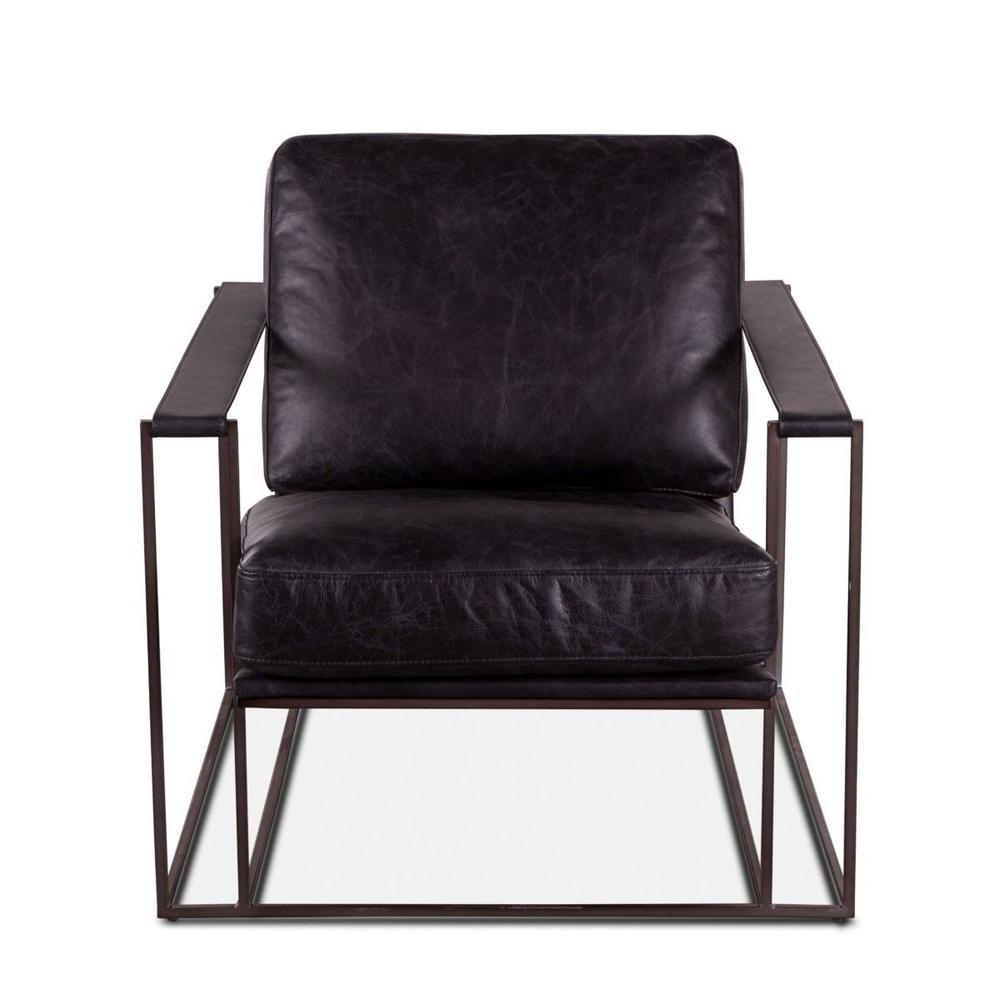Bogart Armchair in Ebony Black Leather