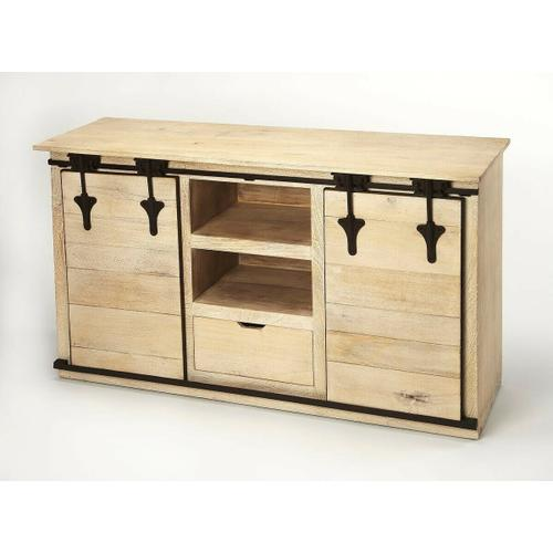 Butler Specialty Company - Update your entertainment ensemble with this Rustic, solid Mango wood, on-trend TV stand. Two sliding barn cabinet doors open to reveal out-of-sight storage space for DVDs, books, or video games, while two open shelves and a single drawer top provide a place for your storage needs. It is multi-functional and can be used as a dining server, hallway piece, or an office credenza.