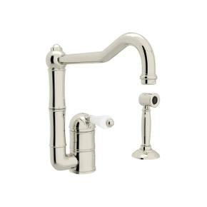 Acqui Single Hole Column Spout Kitchen Faucet with Sidespray - Polished Nickel with White Porcelain Lever Handle