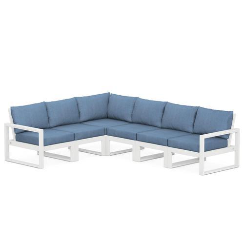 Polywood Furnishings - EDGE 6-Piece Modular Deep Seating Set in White / Sky Blue