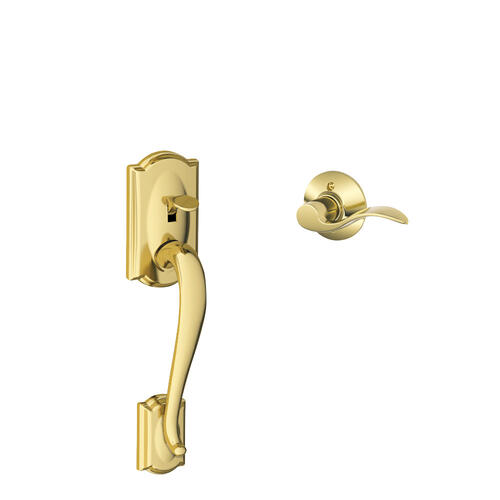 Camelot Front Entry Handle and Accent Lever - Bright Brass