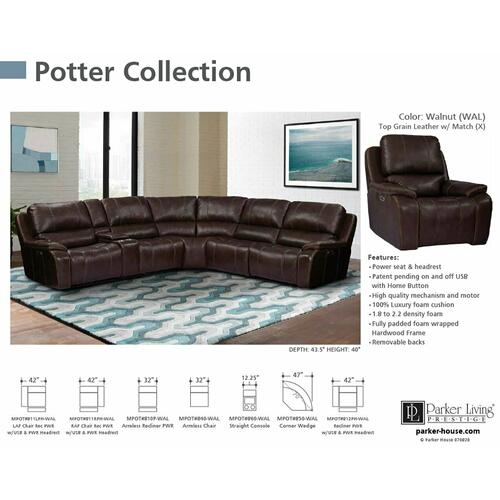 Parker House - POTTER - WALNUT Power Armless Recliner