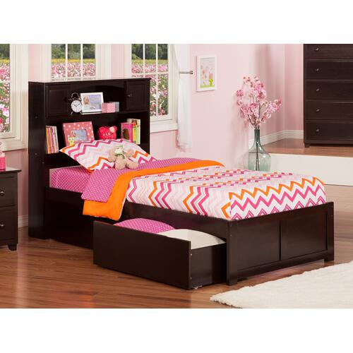 Atlantic Furniture - Newport Twin Flat Panel Foot Board with 2 Urban Bed Drawers Espresso