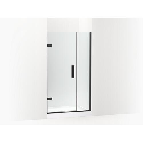 "Kohler - Matte Black Frameless Pivot Shower Door, 71-9/16"" H X 39-5/8 - 40-3/8"" W, With 3/8"" Thick Crystal Clear Glass"