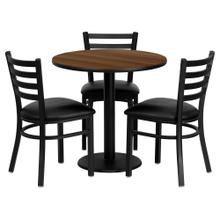 See Details - 30'' Round Walnut Laminate Table Set with 3 Ladder Back Metal Chairs - Black Vinyl Seat