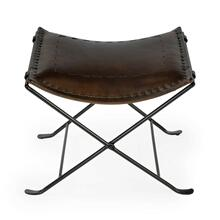Leather meets iron for a simple seat. Ideal for any spot in your home. Great alone or in multiples. It's carefully stitched dark brown leather seat is supported by an understated black iron base that folds ealisy for storage.