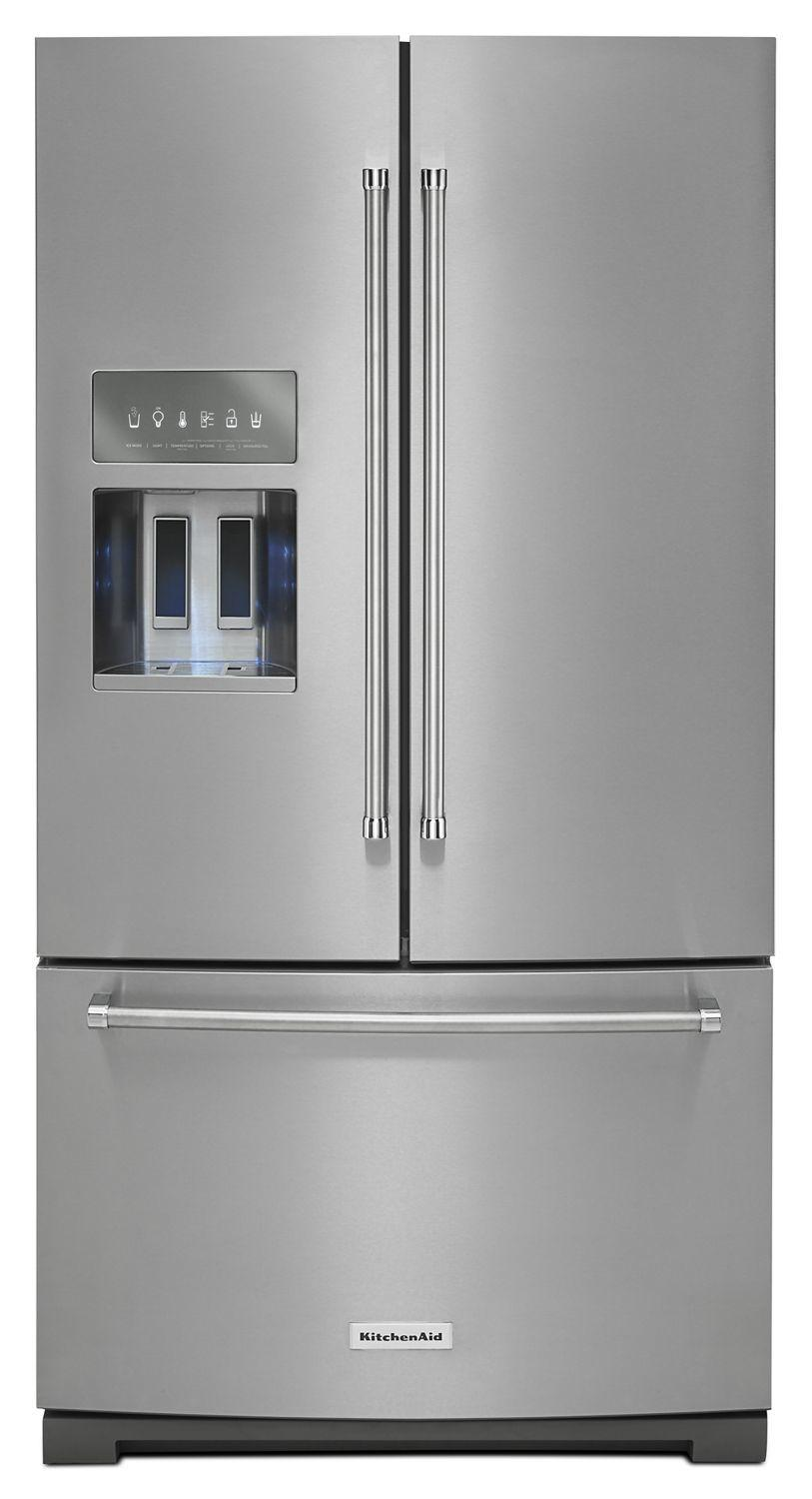 Kitchenaid26.8 Cu. Ft. 36-Inch Width Standard Depth French Door Refrigerator With Exterior Ice And Water And Printshield Finish Stainless Steel With Printshield™ Finish