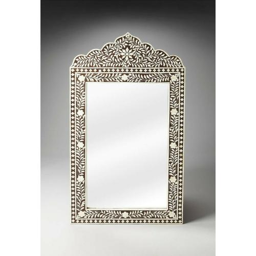 Butler Specialty Company - This magnificent Wall Mirror features old world craftsmanship. No two mirrors are ever exactly alike as each piece is handcrafted takes weeks of painstaking effort. The intricate patterns covering the piece are created from white bone inlays cut and individually applied in a field of brown by the hands of a skillful artisan. Delicate sheen overall says this piece is made for a Rej's palace. Wonderful in entryway, hall, boudoir or powder room.