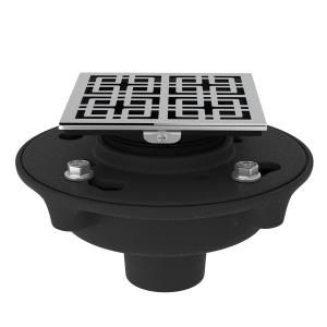 "Polished Chrome Cast Iron 2"" No Hub Drain Kit With 3142 Weave Decorative Cover Product Image"