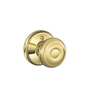 Georgian Knob Non-turning Lock - Bright Brass Product Image